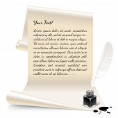 picture of inkwells  - Vintage banner in the form of white paper with an inkwell and feather - JPG