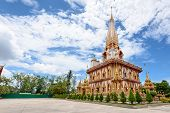 pic of worship  - Beautiful pagoda at Wat Chalong or Wat Chaitararam Temple famous attractions and place of worship in Phuket Province Thailand - JPG
