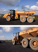 stock photo of dumper  - photo large industrial yellow dumper truck dipper - JPG