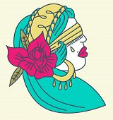 picture of gypsy  - A tattoo style gypsy head illustration with a rose - JPG