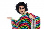image of maracas  - Funny mexican wearing poncho with maracas isolated on white - JPG