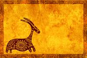 foto of african animals  - Background with grunge paper texture and African traditional animal - JPG