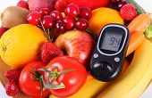 stock photo of immune  - Glucose meter with fresh ripe fruits and vegetables concept of diabetes healthy food nutrition and strengthening immunity - JPG