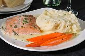 picture of mashed potatoes  - Baked salmon with mashed potatoes and gravy - JPG