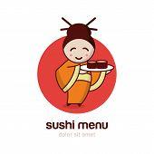 stock photo of sushi  - Japanese girl with sushi dish - JPG