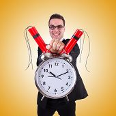 pic of time-bomb  - Man with time bomb against the gradient - JPG