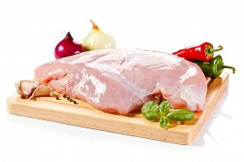 pic of turkey-hen  - Raw turkey fillet on cutting board  - JPG