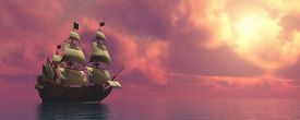 foto of sailing vessels  - Sunset skies find a galleon ship sailing on rosy ocean waters to a far port destination - JPG