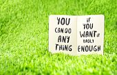 Inspiration Quote :  You Can Do Anything If You Want It Badly Enough On Notebook On Grass ,motivat poster