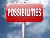 possibilities and opportunities alternatives achievement road sign billboard 3D illustration poster