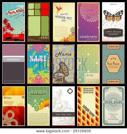 Постер, плакат: набор 15 подробные вертикальных визитных карточек различные Ретро стили, холст на подрамнике