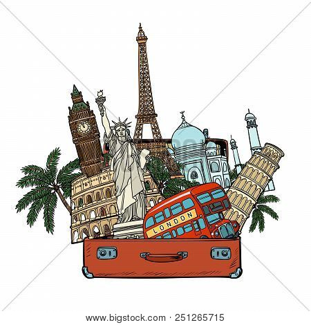 Suitcase With World Landmarkstourism And