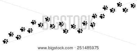 poster of Paw Vector Foot Trail Print Of Cat. Dog, Puppy Silhouette Animal Diagonal Tracks For T-shirts, Backg