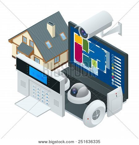 poster of Isometric Alarm System Home. Home Security. Security Alarm Keypad With Person Arming The System. Acc