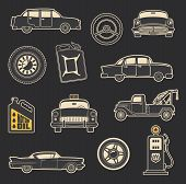 Retro Car And Transport Icons Of Old Taxi, Wheel And Tow Truck, Motor Oil And Gasoline Can, Steering poster