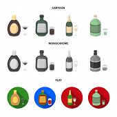 Liquor Chocolate, Champagne, Absinthe, Herbal Liqueur.alcohol Set Collection Icons In Cartoon, Flat, poster