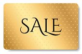Big Sale Gift Card (seasonal Gift Card Discount), Gift Coupon With Gold Pattern. Golden Background D poster