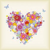 pic of san valentine  - floral heart with butterflies  - JPG