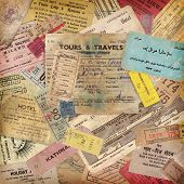 stock photo of boarding pass  - vintage travel background made of lots of old tickets - JPG