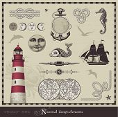 vector set: nautical design elements - set of retro maritime illustrations