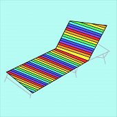 Hammock-chair With Stripes, Lounge Seat , Empty Sunbed Chaise-longue On Vector Illustration, Daybed  poster