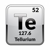 Tellurium Symbol.chemical Element Of The Periodic Table On A Glossy White Background In A Silver Fra poster