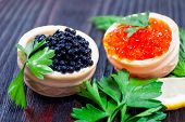 Festive Sandwiches With Red And Black Caviar. Healthy And Tasty Food.festive Sandwiches With Red And poster