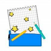Paper With Stars And Colors. Back To School. Vector Illustration Design poster
