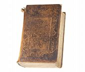 stock photo of leather-bound  - Antique book with frayed leather cover - JPG