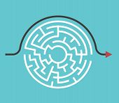 Circular Maze With Entrance And Exit And Bypass Route Arrow Going Around It. Problem And Solution Co poster