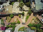 Top View Steep Hills And Sharp Curves One-way Road Lombard Street, San Francisco poster