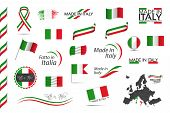 Big Set Of Italian Ribbons, Symbols, Icons And Flags Isolated On A White Background, Made In Italy,  poster