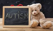 Teddy Bear And A Blackboard. Autism Text Drawing On The Blackboard poster
