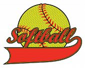 Softball With Banner And Textured Ball Is An Illustration Of A Softball Design Including A Banner Fo poster