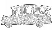 Philippine Jeepney With Tribal Ornament. Palm Tree, Whale Shark, Mask, Turtle, Halo-halo. Vector Col poster