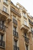 Paris Residential Buildings. Old Paris Architecture, Beautiful Facade, Typical French Houses On Sunn poster