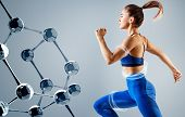 Sporty Young Woman Runing And Jumping Near Molecules. Metabolism Concept. poster