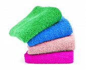 Multicolored Towels On A White Background Tourist, Resort, Health, Spa, No, People, Clean, Towels, poster