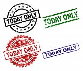 Today Only Seal Prints With Damaged Texture. Black, Green, Red, Blue Vector Rubber Prints Of Today O poster