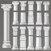 Ancient Column Vector Historical Antique Column Or Classic Pillar Of Historic Roman Architecture Ill poster