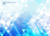 Abstract Technology Futuristic Arrow And Triangles Pattern Elements On Blue Background. You Can Use  poster