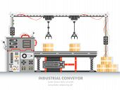 Industrial Manufacturing Line With Automated Process. Horizontal Belt For Packaging And Distribution poster