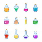 Magic Bottle Vector Magical Game Potion In Glass Or Liquid Poison Drink Of Alchemy Or Chemistry Illu poster