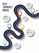 The Best Journey Route. Road Trip And Journey Route. Business And Journey Infographic Design Templat poster