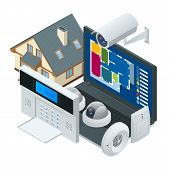 Isometric Alarm System Home. Home Security. Security Alarm Keypad With Person Arming The System. Acc poster