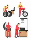 Wheel Service Colorful Banner Vector Illustration, Mechanics In Red Coverlasses Working With Special poster