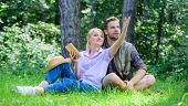 Romantic Couple Students Enjoy Leisure Looking Upwards Observing Nature Background. Romantic Date At poster