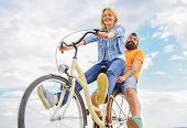 Couple With Bicycle Romantic Date Sky Background. Couple In Love Date Cycling. Explore City. Man And poster