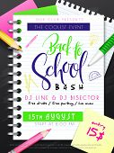 Vector Illustration With Design Template For Back To School Event Poster With Pencils, Stationery An poster