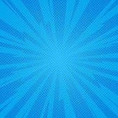 Comic Book Background Lightning Blast Halftone Dots. Pop Art Vector Illustration On Blue poster